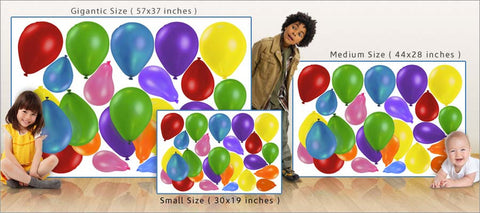 party balloons wall decals set size comparison