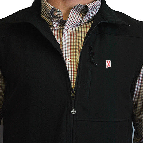 Alabama Soft Shell Vest Black with Black Trim