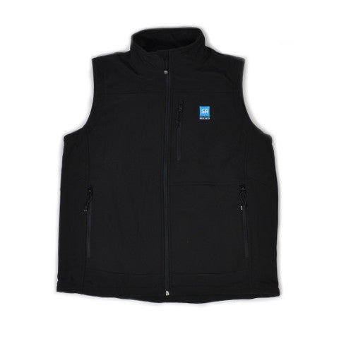 Southern Research Logo Soft Shell Vest Black with Black Trim