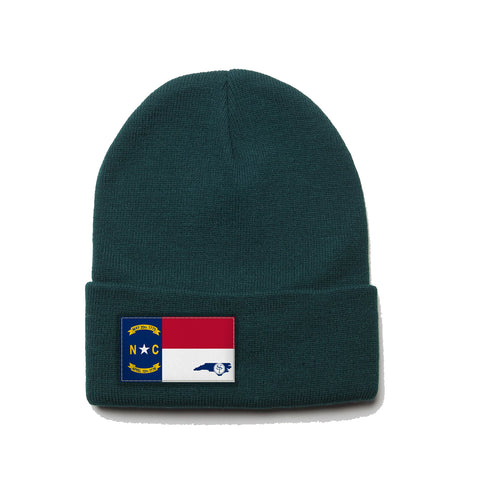 Forest Green Beanie with North Carolina Flag Patch by State Traditions
