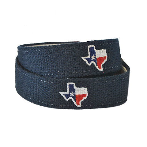 Texas Traditional Embroidered Belt Navy