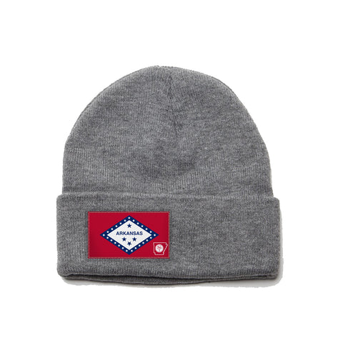 Heather Grey Beanie with Arkansas Flag Patch by State Traditions