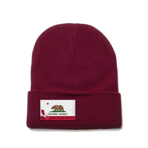 Maroon Beanie with California Flag Patch