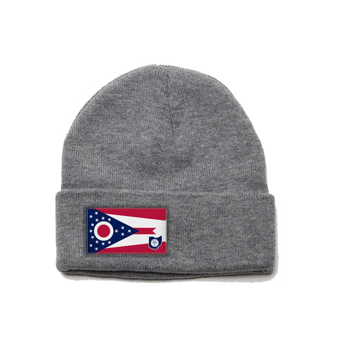 Heather Grey Beanie with Ohio Flag Patch by State Traditions