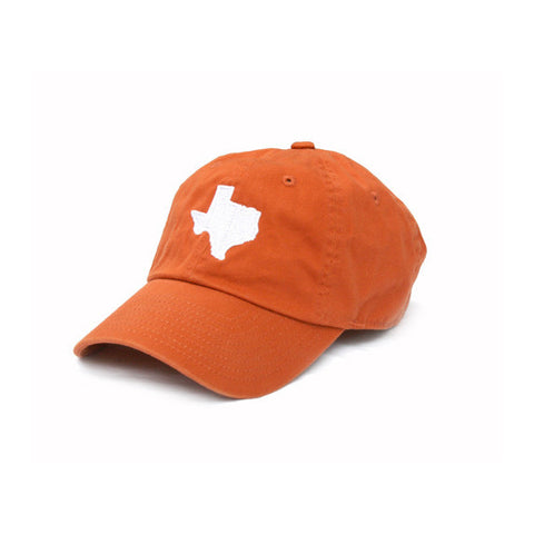 TX Hat, Texas Hats, Texas, Burnt Orange hat with white state of TX, Texas embroidery, Austin Texas, Dad Cap, Cotton Slouch Hat, Texas Cap