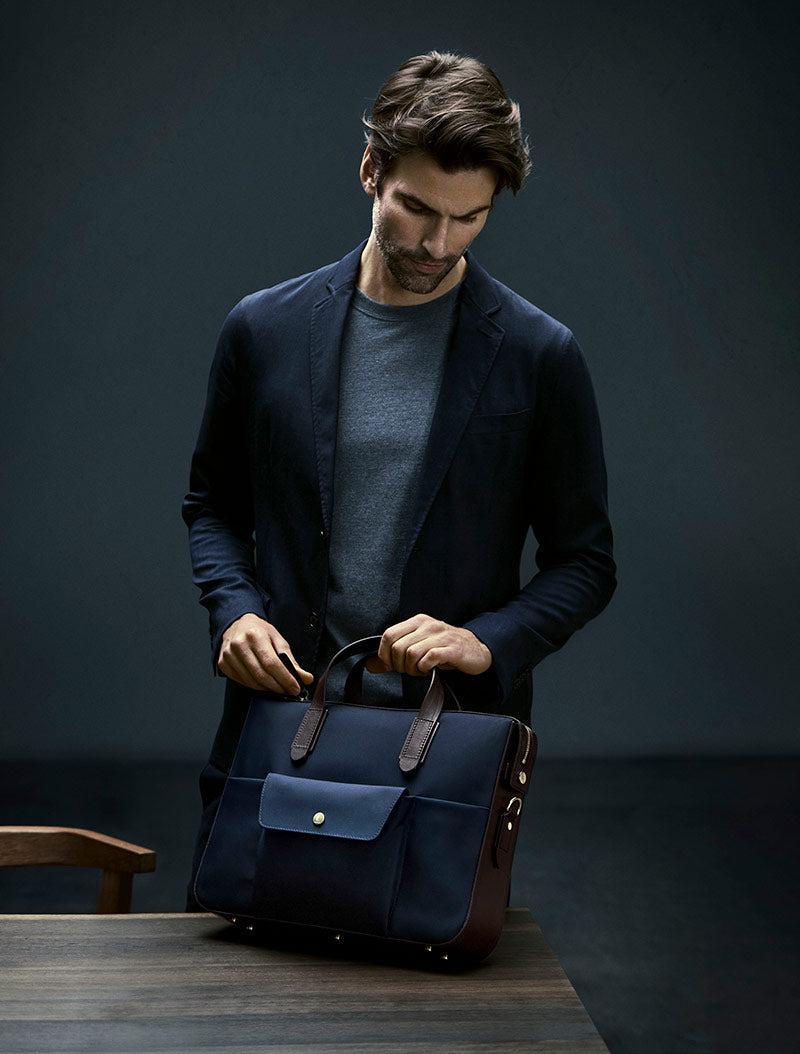 M/S Briefcase – Navy/Dark Brown description image
