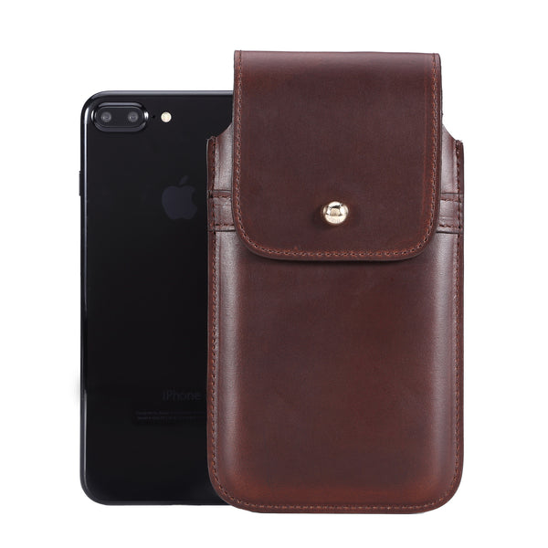 Horween Chromexcel Havana Brown Leather - Barrett 2017 Holster Case for iPhone 8 Plus - Blacksmith-Labs