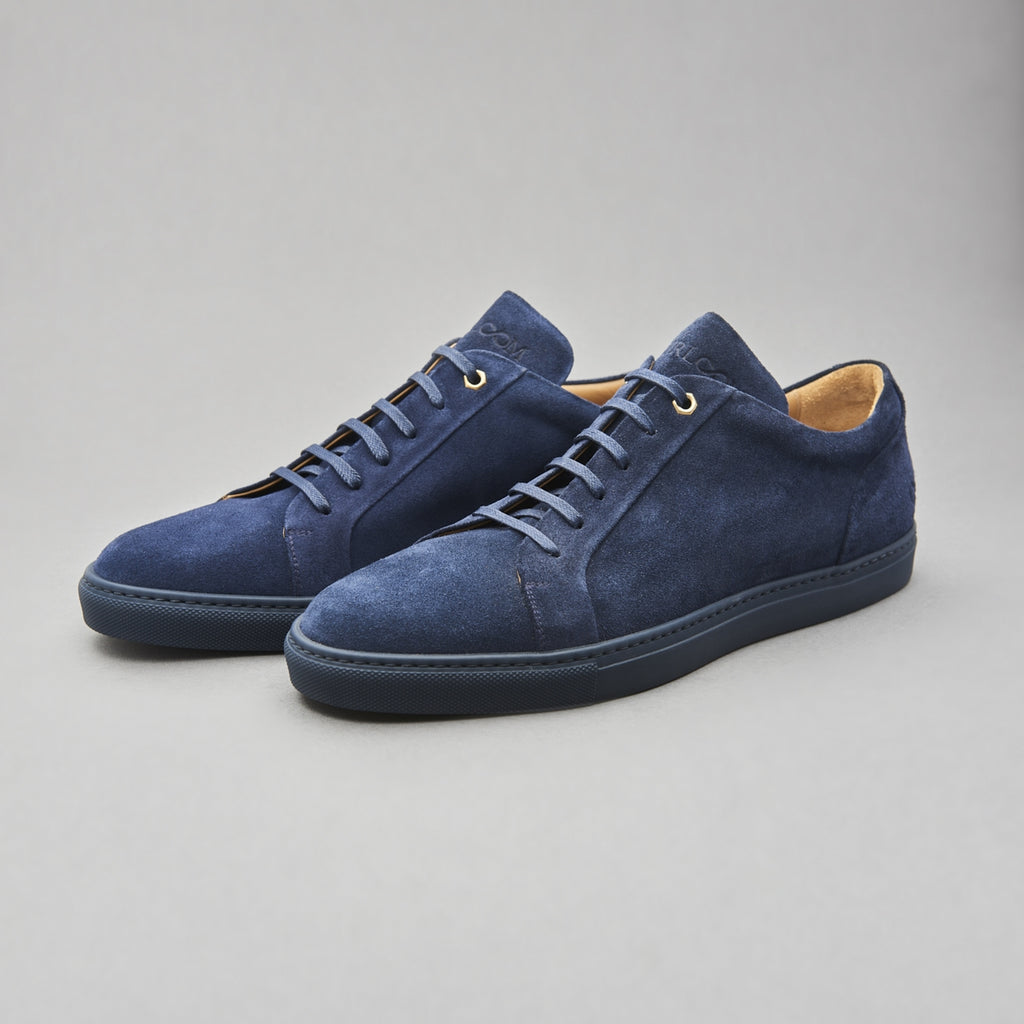 Low Top Court Sneaker in Navy Calf Suede Leather