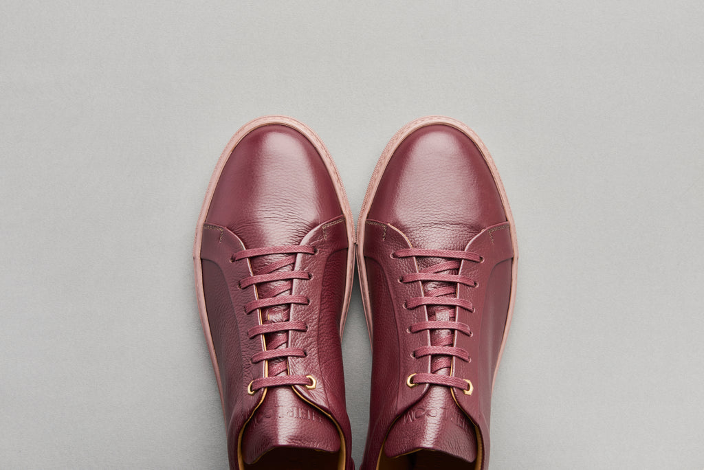 Low Top Court Sneaker in Burgundy Tumbled Grain Calf Leather