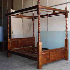 Carved Post Canopy Bed- Medium Finish