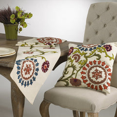 "Embellished Suzani Pillow 16"" and Runner 72"""