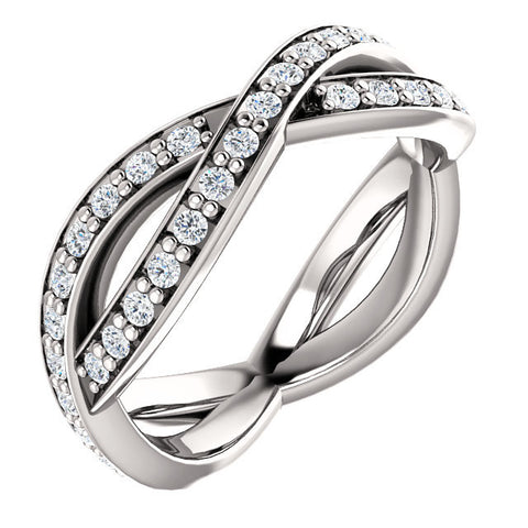 Cubic Zirconia Anniversary Ring Band, Style 05-39 (Inifinity Inspired Round or Square Eternity Band)