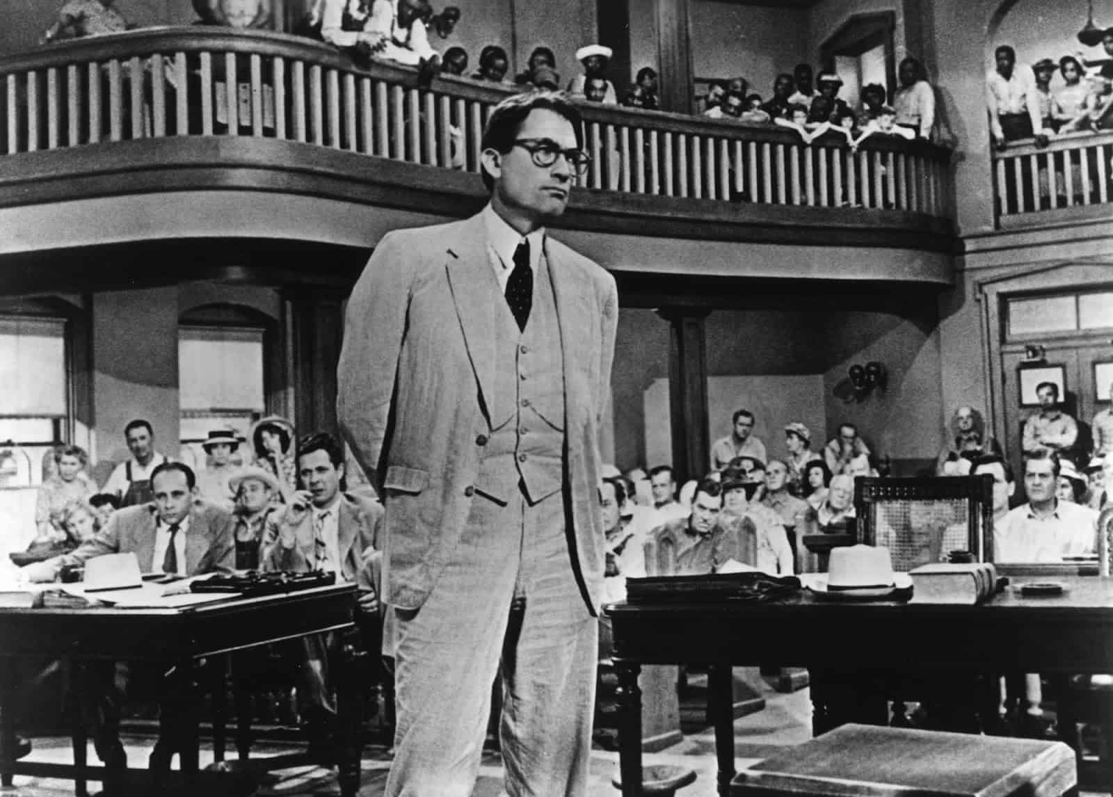 Atticus Finch in court in the film version of 'To Kill a Mockingbird'