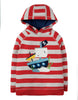 Frugi Hedgerow Hoody Tomato Chunky Stripe