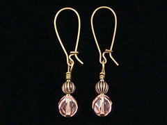 Antiqued medium earrings w/ Rose crystal and melon bead (Web-241)