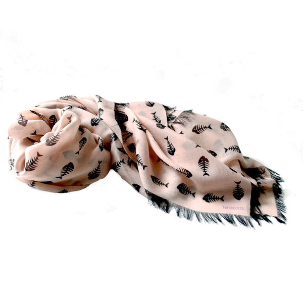Finley Fishbone 100% Cashmere Scarf - Terracotta New York