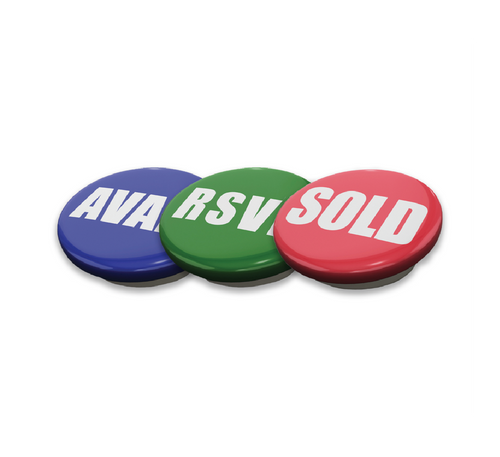 Metal Button Combo Pack - (Sold, Avail, RSVD) Pkg. 50 Each