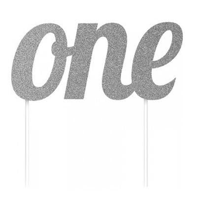 Silver One Cake Topper | 1st Birthday Party Supplies