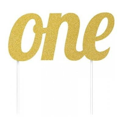 Gold One Cake Topper | 1st Birthday Party Supplies