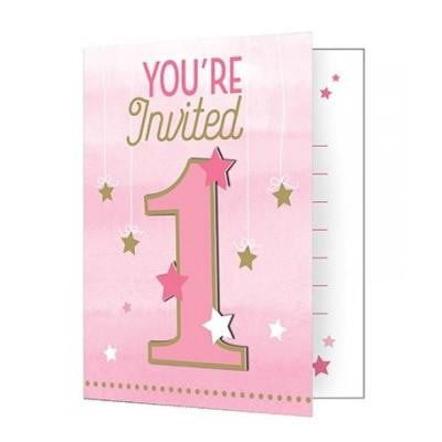 Party Creations | One Little Star Pink Invitations - 1st Birthday