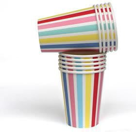 Little Party Paper People | Carnival Stripe Cups | Rainbow Party Theme