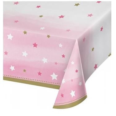 Creative Converting | One Little Star Pink Tablecloth | 1st Birthday Party Theme & Supplies