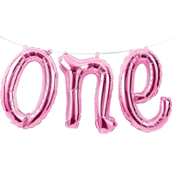 Pink One Foil Balloon Banner | 1st Birthday Party Supplies