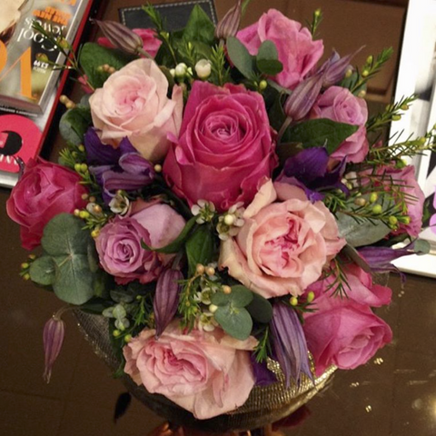 Purple, Pastel & Pink Rose Hand-Tied Bouquet