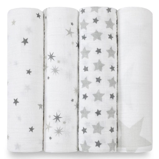 Aden and Anais | Classic Swaddles 4-pack Twinkle Grey Stars