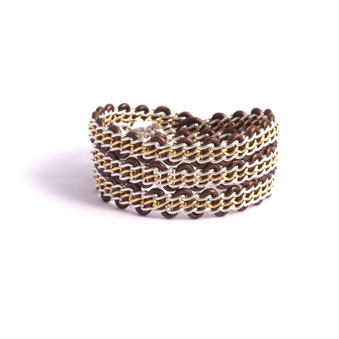 Braemar Wrap Bracelet - Sterling Silver and 14-Karat-Gold-Filled Chain on Bronze Leather