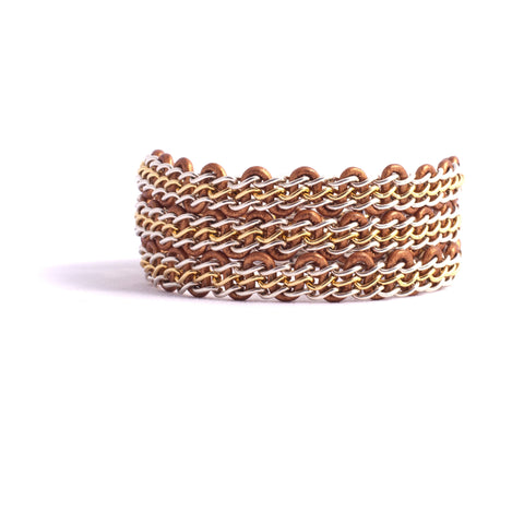 Braemar Wrap Bracelet — Sterling Silver & Gold-Filled Chain on Metallic Copper Leather