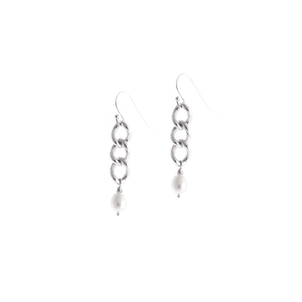Gleason I Earrings — Sterling Silver Chain With Ivory Pearls