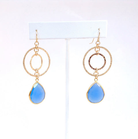 Solid Design Studios 14k Gold-Filled Concentric Circle Earrings With Bezel-Set Chalcedony