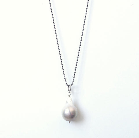 Solid Design Studios Ultra Baroque Pearl Necklace - Ivory Pearl on 29-Inch Oxidized Sterling Chain