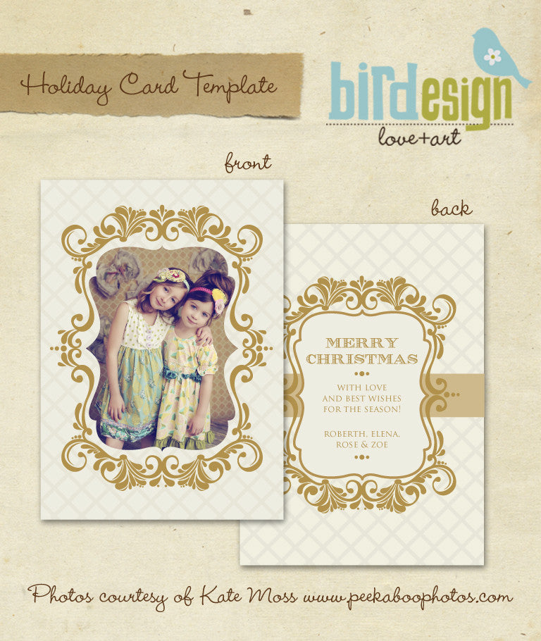 Holiday Photocard Template | Vintage gold frame