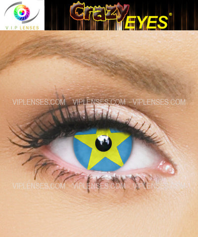 Crazy Blue and Yellow Star Contact Lenses