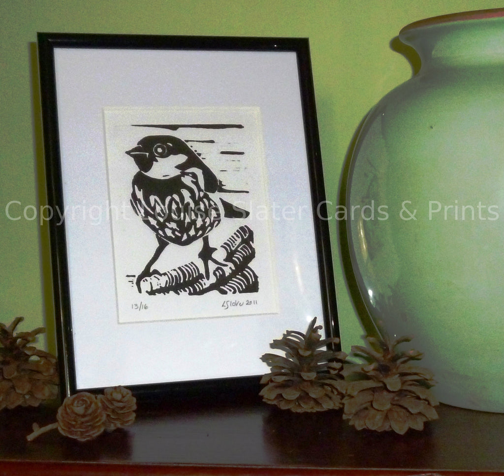 Black and white sparrow lino print