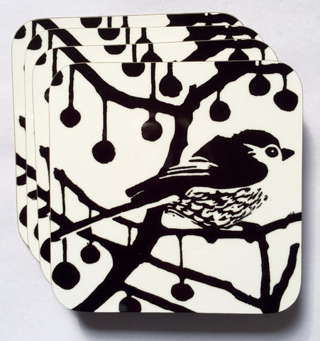 Black & White Longtail Coasters- Pk of 4