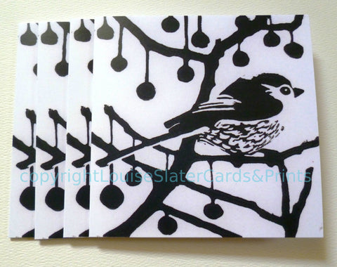 Black & White Longtail bird greeting card