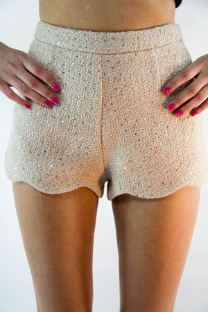 Sequin Scalloped Shorts, Bottoms - Style Dirty