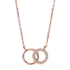 Rose gold plated silver necklace ANNA 2 circles