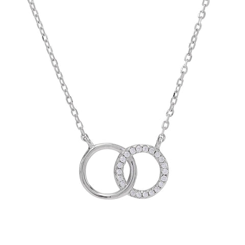 Rhodium-plated silver necklace ANNA 2 circles