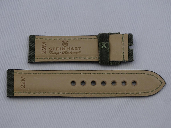 Canvas Strap vintage green with green stitching
