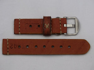Leather Strap orange/brown vintage with beige stitching
