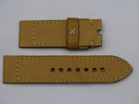 Leather Strap ocka yellow with grey stitching