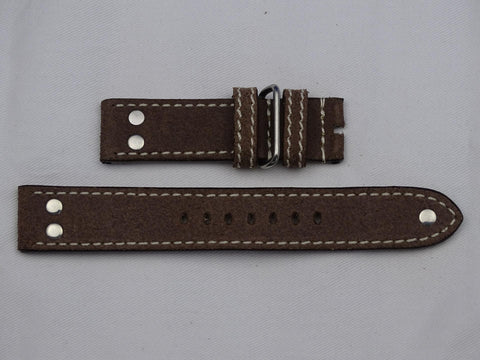 Leather Strap brown with brown stitching and double studs