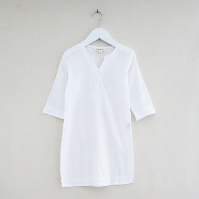 Chikan Tunic White