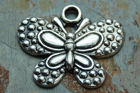 Butterfly Charms -8pcs Oxidized Silver Tone Base Metal 24x20mm antique silver color