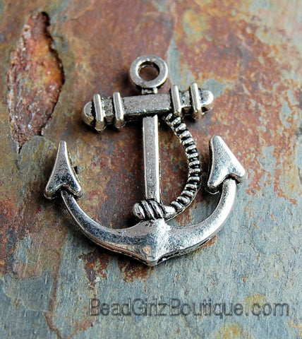 "Antiqued Silver Finished ""pewter"" 20x20mm double-sided anchor with rope design -5"