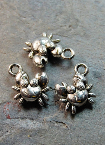 Crab Charm Antique Silver Metal -10